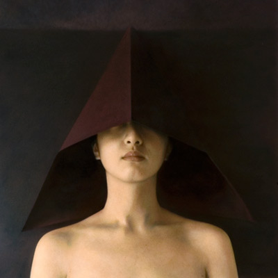 Figure with Folded Paper Hood